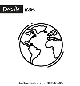 Planet Earth icon. Doodle line illustration.