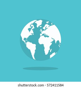 planet Earth icon. Flat planet Earth icon. Flat design vector illustration for web banner, web and mobile, infographics.
