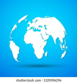 Planet Earth icon in flat style. Vector illustration. White Globe Earth on blue background