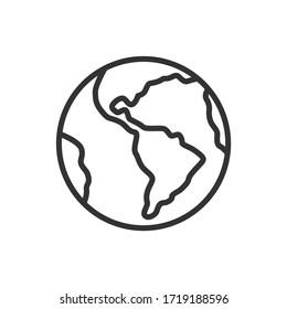 Planet Earth icon. Globe. Thin line design. Vector Illustration.