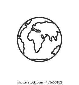 planet Earth icon. Globe. Thin line design