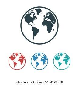 Planet earth icon. Globe icon. World icon