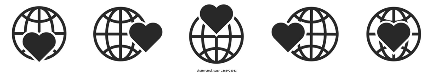 Planet Earth icon with heart symbol. Set of linear globe icons. Vector illustration. World health day concept