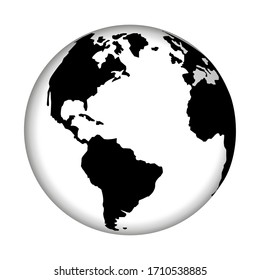 Planet earth icon on white background. Vector world map.