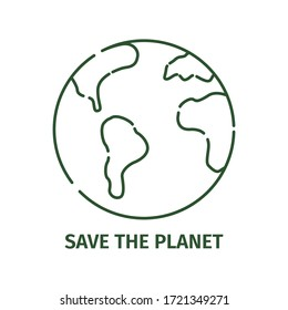 Planet earth icon in outline style on a white background. Stock vector illustration.