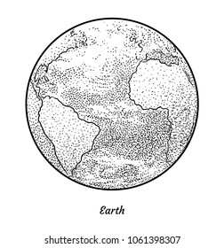 Planet Earth illustration, drawing, engraving, ink, line art, vector