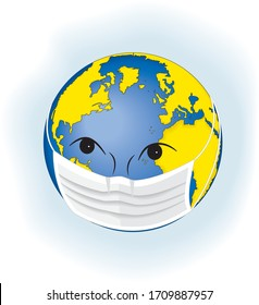 Planet Earth in a mask