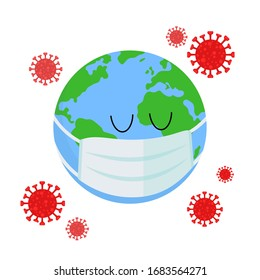 Planet Earth in a medical mask is protected from the virus. COVID-19. Outbreak of coronavirus infection. Pandemic. World problem. Vector illustration in a flat style isolated on white background.
