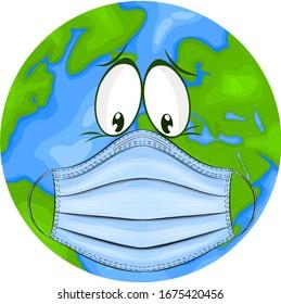 planet Earth in a medical mask protecting against coronavirus vector illustration cartoon