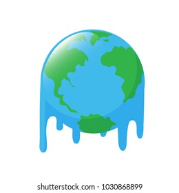 Planet earth melting icon design. Stop global warming concept. illustration isolated on white background.