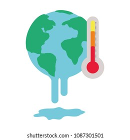 planet earth melting with thermometer to global warming