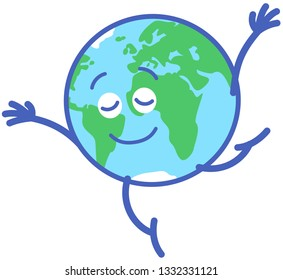 Planet Earth in minimalist cartoon style feeling joyful while performing a dance step. It consists on standing on tiptoes on one leg while extending its arms, smiling and keeping balance graciously