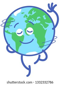 Planet Earth in minimalist cartoon style feeling joyful while graciously performing a rotation. It's closing its eyes, raising a hand and standing on tiptoes on one leg while smiling and spinning
