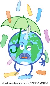 Planet Earth in minimalist cartoon style feeling annoyed while holding an umbrella above it. It is protecting itself from a rain of various transparent plastic bottles in different colors