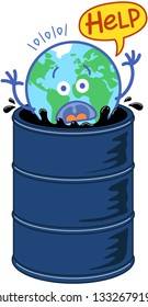 Planet Earth in minimalist cartoon style feeling in trouble while drowning in a barrel full of black oil. It is raising its arms and agitating desperately while asking for help through a speech bubble
