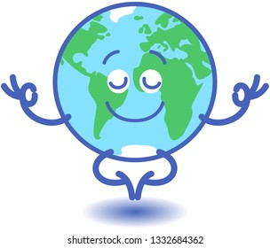 Planet Earth in minimalist cartoon style feeling joyful while keeping in deep meditation. It is doing a Gyan mudra sign with both hands and half-smiling while floating peacefully in half-lotus pose