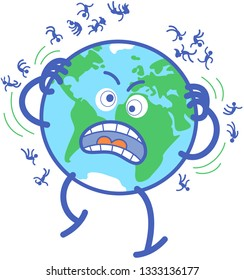 Planet Earth in minimalist cartoon style feeling desperate while scratching and expelling people to the space. It has crazy eyes and yells uncontrollably. Several humans are floating around the planet
