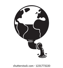 Planet Earth and oil extraction, ecology concept illustration. Petroleum and fossil fuels as non-renewable natural resourses exploitation. Black and white vector clip art.