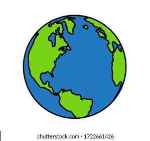 Planet earth on a white background. Symbol. Vector illustration.