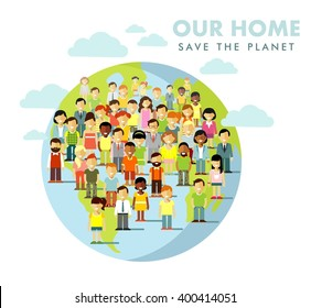 Planet Earth people concept. Different multi cultural multi ethnicity people crowd on planet Earth background