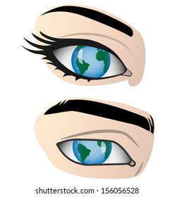 Planet Earth reflected in the human eye. Vector illustration.