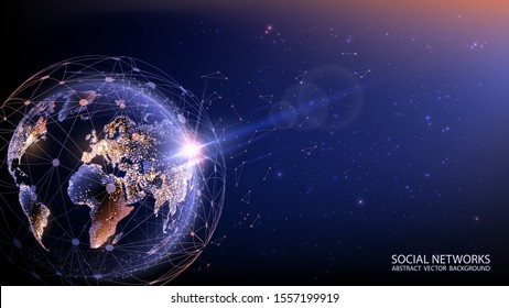 Planet Earth from space. Vector. Flickering lights of cities. Map of the mainland. Global communications system and the World Wide Web. Technologies and communications. Globalization. Luminous sphere.