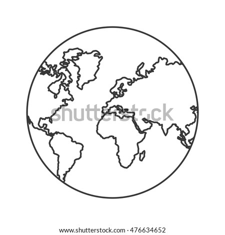 Planet Earth Sphere Globe Map Icon Stock Vector Royalty Free