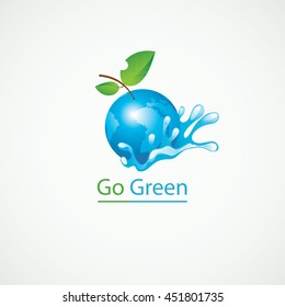 Planet Earth in the spray of clean water and the inscription Go Green