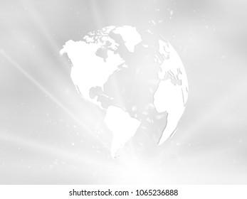 planet earth with starburst on grey background america view