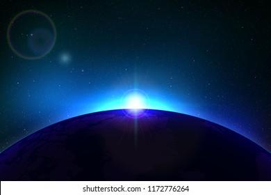 Planet earth sunrise. Globe Horizon atmosphere