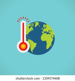 planet earth with thermometer, global warming concept