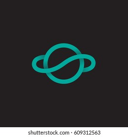 Planet earth, unusual line logo monogram.