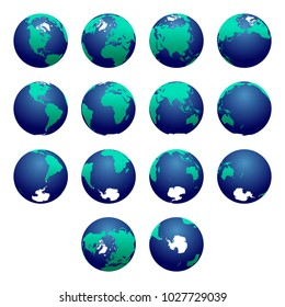 Planet Earth vector illustration. Detailed Earth's hemispheres maps. Globe, sphere. World map. North pole / South pole. Europe, Asia, Australia, America, Africa, Antarctica maps.