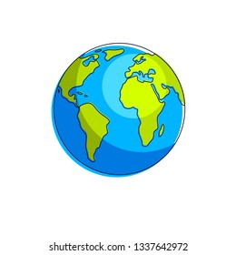 Planet earth vector illustration isolated on white background, America, Africa and Europe continents side.