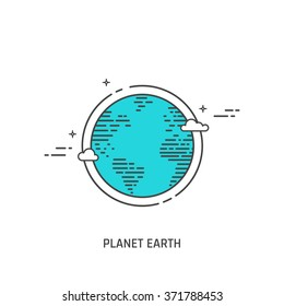 Planet Earth vector illustration in linear flat style. Globe icon.