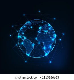 Planet Earth view from space with continents outlines abstract background. Globalization, connection concept. Low poly wireframe, lines and dots glowing design. Vector illustration.