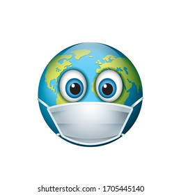 Planet Earth wearing respiratory face mask - emoji, emoticon - World protecting - isolated vector illustration