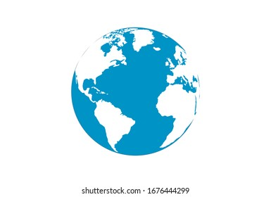 Planet earth , world globe with oceans and water flat