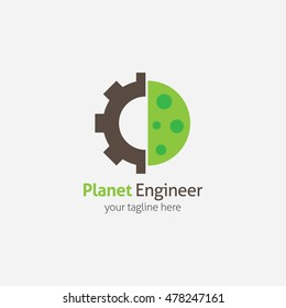 Planet Engineer Logo & industrial working concept. Vector illustration. lat style design