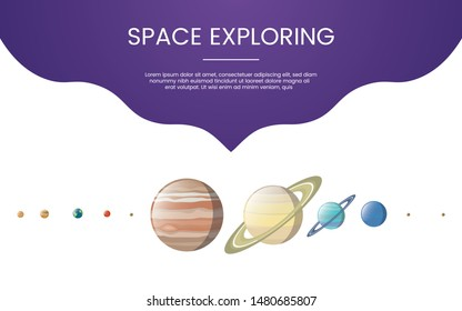 planet explore technology concept theme for template banner or landing homepage infographics - vector