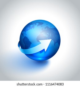Planet globe Earth with white arrow, vector illustration