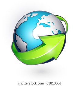 Planet with green arrow on a white background