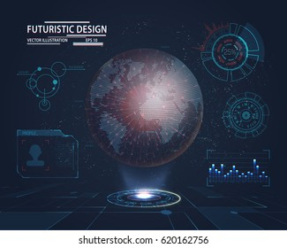 Planet hologram with futuristic hud design elements with bar and circle graph. Infographic or technology interface for information visualization. Science and space, tech and sci-fi, analysis theme