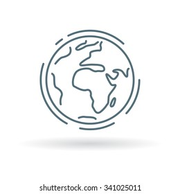 Planet icon. Earth sign. World symbol. Thin line icon on white background. Vector illustration.