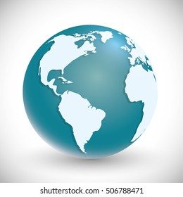 Planet icon. Earth world globe and continent theme. Isolated and blue design. Vector illustration