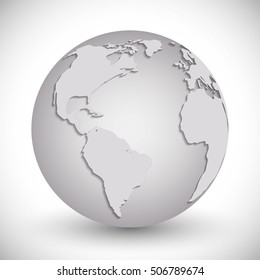 Planet icon. Earth world globe and continent theme. Isolated and grey design. Vector illustration