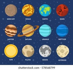Planet icon set. Planets with names - mercury, venus, earth, mars, jupiter, saturn, uranus, neptune, pluto. Vector astronomic abstract objects - sun, moon, asteroid. Flat design illustration.