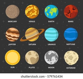 Planet icon set. Planets with names - mercury, venus, earth, mars, jupiter, saturn, uranus, neptune, pluto. Vector astronomic abstract objects - sun, moon, asteroid. Flat design illustration.