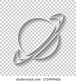 Planet with line of orbit, astronomy icon. White outline sign with shadow on transparent background