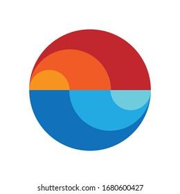Planet Logo. Earth Icon. Sunset. Circle.